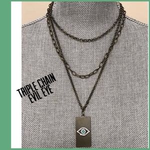 Layered Chains Evil Eye Necklace,NWT